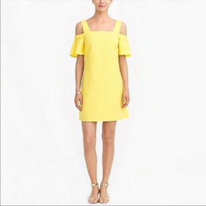 J Crew Yellow L Cold Shoulder ruffle dress weave